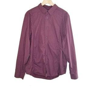 Prana Long Sleeve Button Down Burgandy Shirt